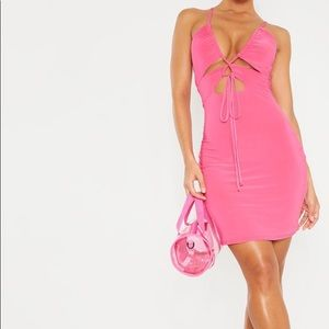 Pink Slinky Cut Out Tie Detail Bodycon Dress